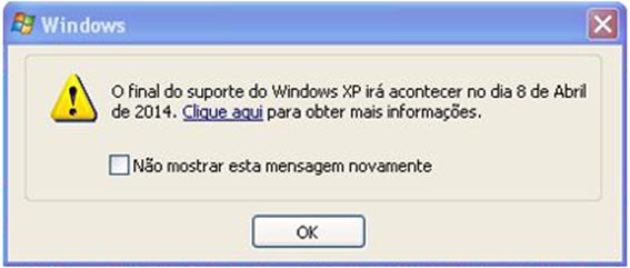 notificação fim de suporte apresentada aos utilizadores do Windows Update no Windows XP